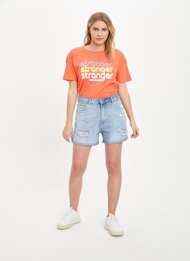DeFacto Yazı Baskılı Neon T-Shirt Kırmızı